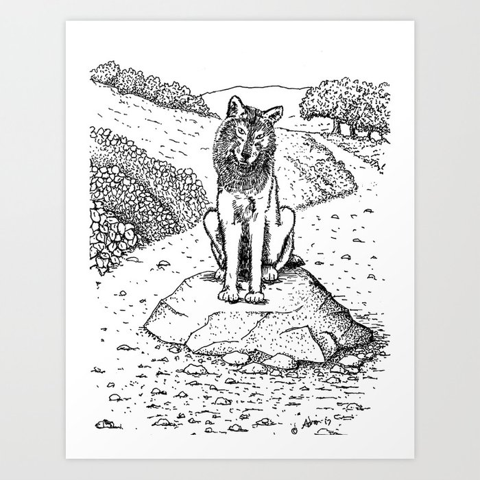 Wolf, The Guard, An Illustration From My Book of Poems Art Print