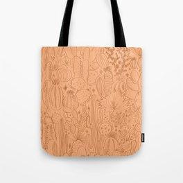 Cactus Scene in Orange Tote Bag