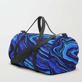 Abstract blue vivid agate slice Duffle Bag