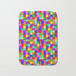 Autism Acceptance and Awareness Spectrum Rainbow Puzzle Pieces Bath Mat