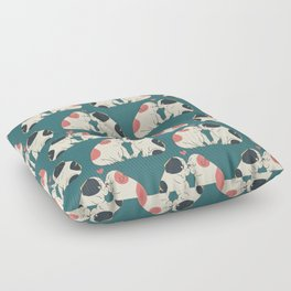 English Bulldog Kisses Floor Pillow