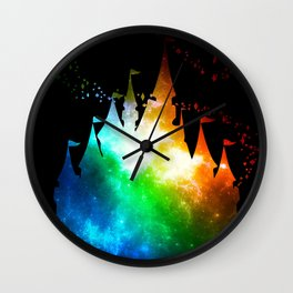 Rainbow Galaxy Castle Wall Clock
