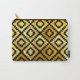 Turkish carpet gold black. Patchwork mosaic oriental kilim rug Carry-All Pouch