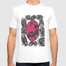 African Masks White MEDIUM Mens Fitted Tee