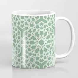 Elegant Islamic geometric lace pattern Sage Green Coffee Mug