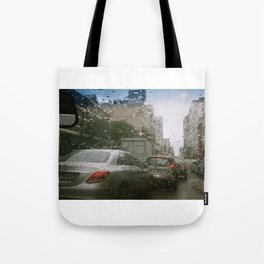 Cape Town traffic on a rainy day Tote Bag