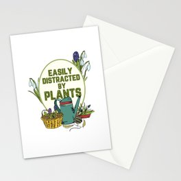 Easily Distracted By Plants Motive for a Hobby Gardener Stationery Cards