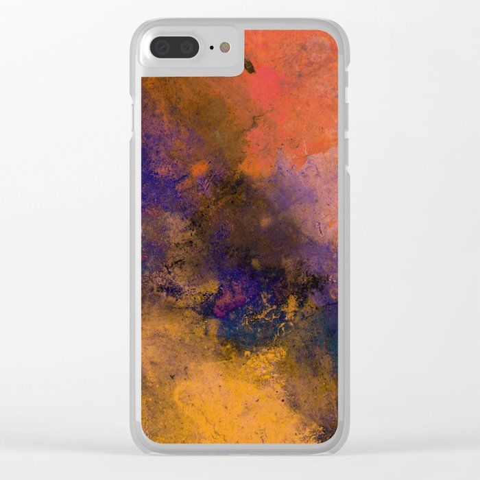 Inner Peace - Orange, red, blue, pastel, textured painting Clear iPhone Case
