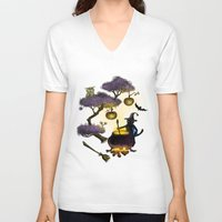 halloween V-neck T-shirts featuring Halloween by Anna Shell