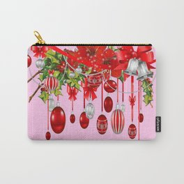 AMARYLLIS FLOWERS & HOLIDAY ORNAMENTS FLORAL PINK ART Carry-All Pouch