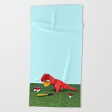 Yes T-Rex can! Beach Towel