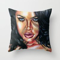 aaliyah Throw Pillows featuring Babygirl by moneechante