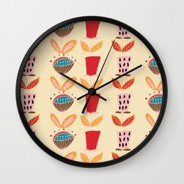 Mid- Century Modern Beige Flowers Pattern Wall Clock