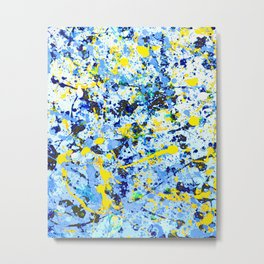 Blue White Yellow Black I Metal Print