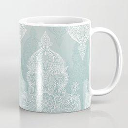 Lace & Shadows - soft sage grey & white Moroccan doodle Coffee Mug