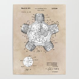 patent art Aldridge 1971 Radial engine Poster