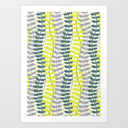 seagrass pattern - teal and lime Art Print