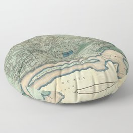 Egbert Viele 1865 Topographic Map of New York City Floor Pillow