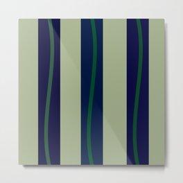 Three Blue Stripes Three Green Waves Metal Print