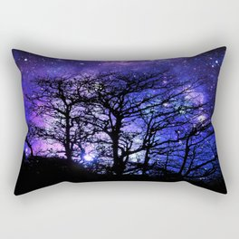 Black Trees Blue Violet Purple Space Rectangular Pillow