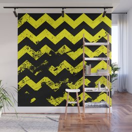 Hazard - Yellow and black abstract geometric art Wall Mural