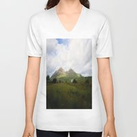 scotland V-neck T-shirts featuring Somewhere in Scotland by Jane Lacey Smith