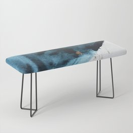 Sapphire and Gold Abstract Bench