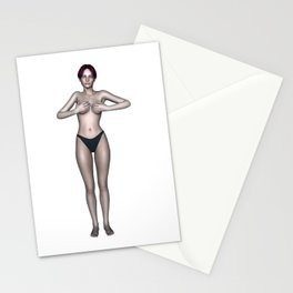 Topless Female Covering Her Breasts With Her Hands Stationery Cards