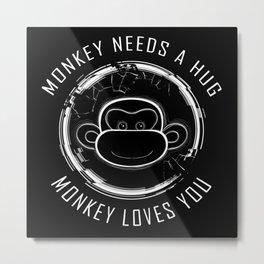 Black Mirror Monkey Metal Print