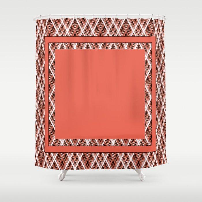 Coral White Black Tartan Shower Curtain By Luciena