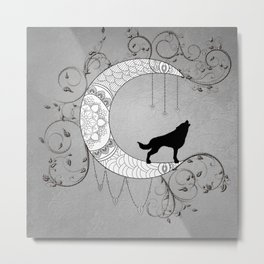 Moon mandala design with wolf Metal Print