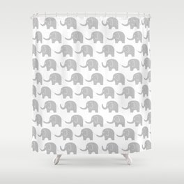 Grey Elephant Parade Shower Curtain