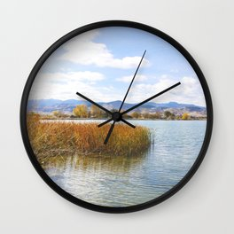 Fall Lake Wall Clock