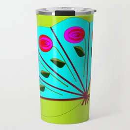 A Fan with Roses and a Dragon Fly Travel Mug