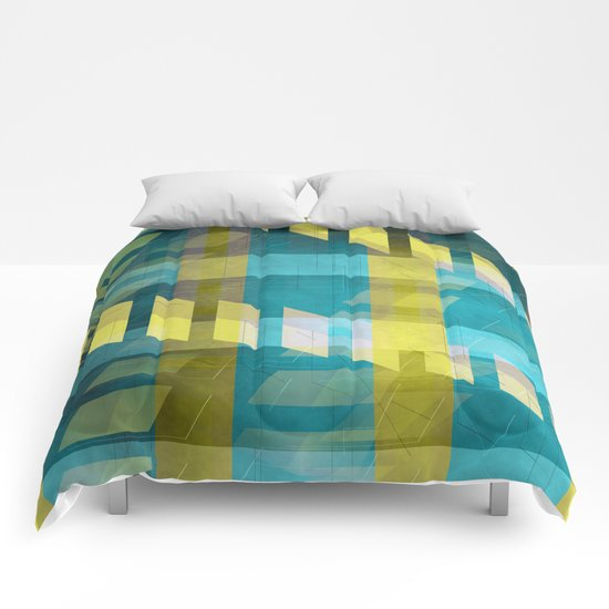 Abstract pattern blue and yellow Comforters