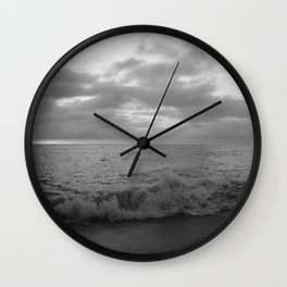 Black And White Vibes At The Beach Wall Clock