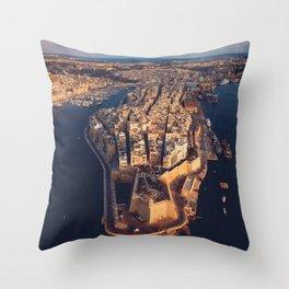 The Three Cities Senglea Malta | Aerial  Throw Pillow