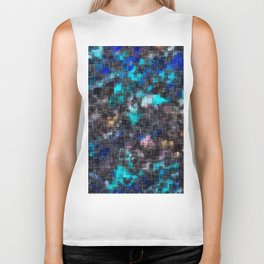 psychedelic geometric square pattern abstract background in blue pink and black Biker Tank
