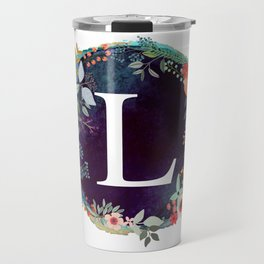 Personalized Monogram Initial Letter L Floral Wreath Artwork Travel Mug