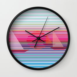 Sailing at sunset Wall Clock