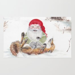 The gnome and his friend the fox - Christmas Rug