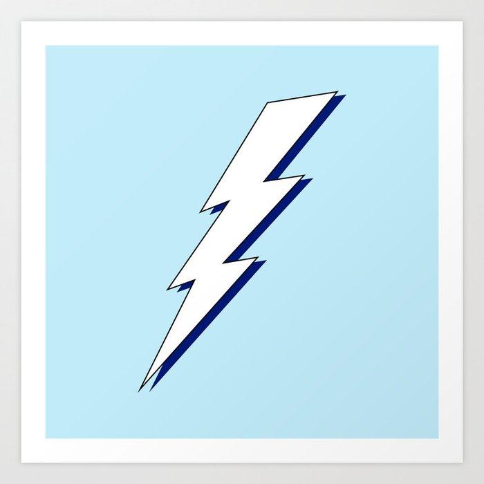 Just Me and My Shadow Lightning Bolt - Light-Blue White Blue Kunstdrucke