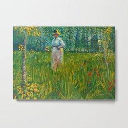 A Woman Walking in a Garden Metal Print