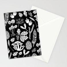 Linocut minimal botanical boho feathers nature inspired scandi black and white art Stationery Cards