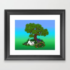 Easter - Spring-awakening - Puppy Capo and Butterfly Framed Art Print