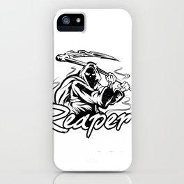 Hand Inked Grim Reaper Illustration iPhone Case