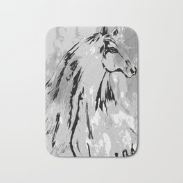 HORSE BLACK AND WHITE Bath Mat