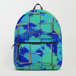 Abstract Squares Blue & Green Backpack