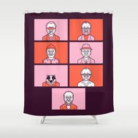 wes anderson Shower Curtains featuring Bill x Wes by Spencer Frühling