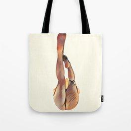 8283s-SLG Legs Up Woman in Mesh Stockings Watercolor Render Tote Bag